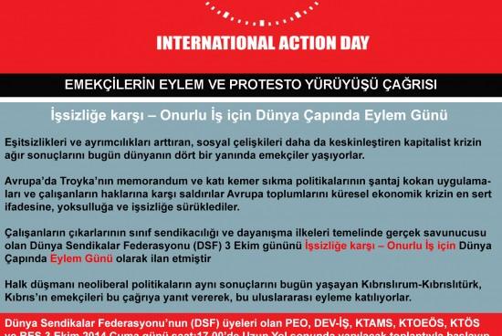 """3 Ekim: """"İşsizliğe karşı – Onurlu İş için"""" Dünya Eylem Günü"""
