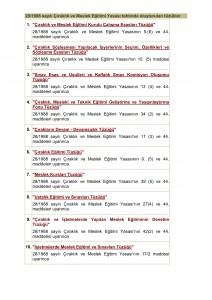 Çıraklık Yasası Tahtında çıkarılan tüzüklerin listesi_001