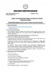 Kamu Hizmeti Komisyonu Öğretmen Sınav Duyurusu KAPAK