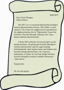 maliye Bakanına Mektup 28.05.2015